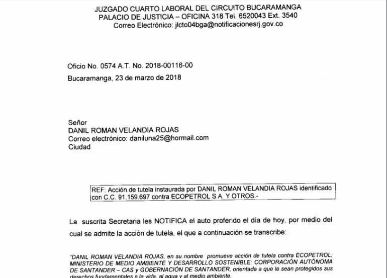 Tutela ordena a Ecopetrol contener definitivamente derrame de crudo: Tutela ordena a Ecopetrol contener definitivamente derrame de crudo
