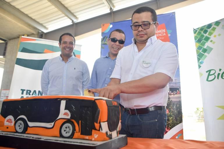 Transcaribe celebró su segundo año de operación comercial: Transcaribe celebró su segundo año de operación comercial