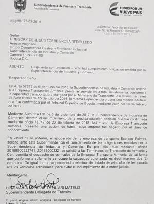Caracol Radio Armenia conoció esta carta de la superintendencia de comercio y indusria