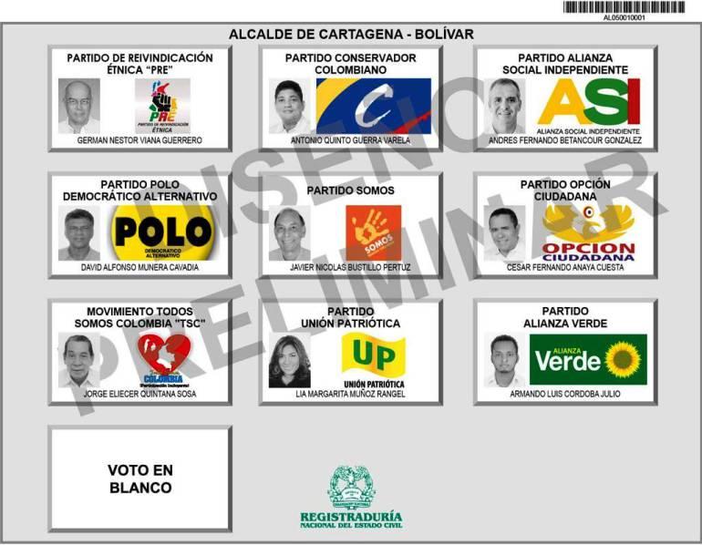 Tarjeta electoral para elecciones alcalde de Cartagena: Así quedó el tarjetón para las elecciones atípicas de alcalde de Cartagena