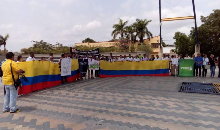 Periodistas de Sucre en la Plaza Majagual.
