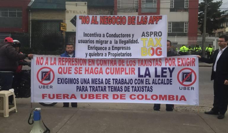 Hoy habrá nueva jornada de protestas de taxistas en Bogotá