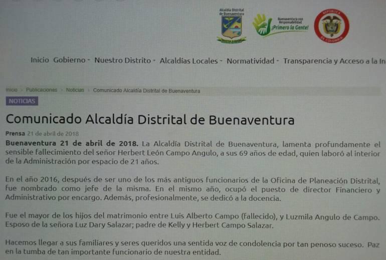 Policía confirma suicidio de funcionario de la Alcaldía de Buenaventura