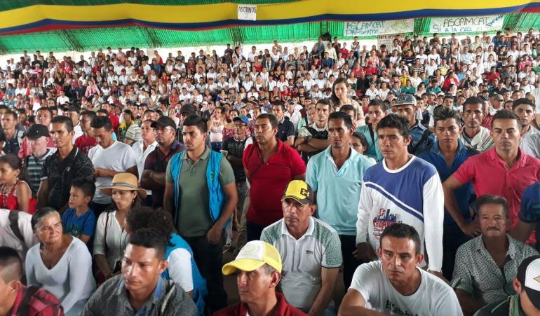 Asamblea campesina en El Tarra por conflicto armado entre el ELN y Los Pelusos