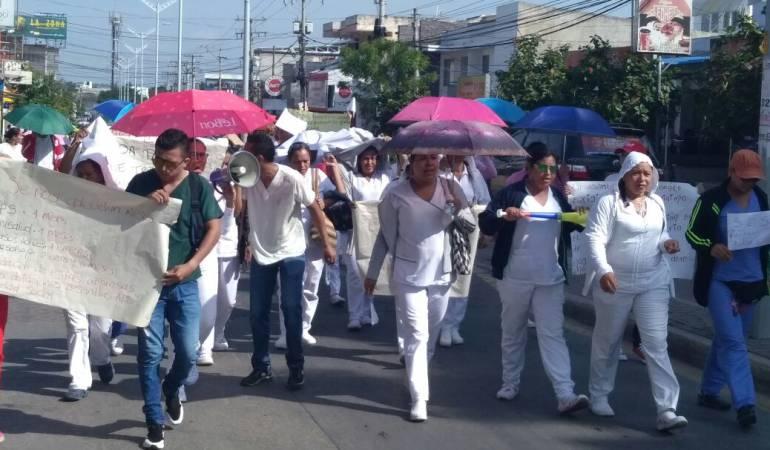 Protesta por deuda de salarios