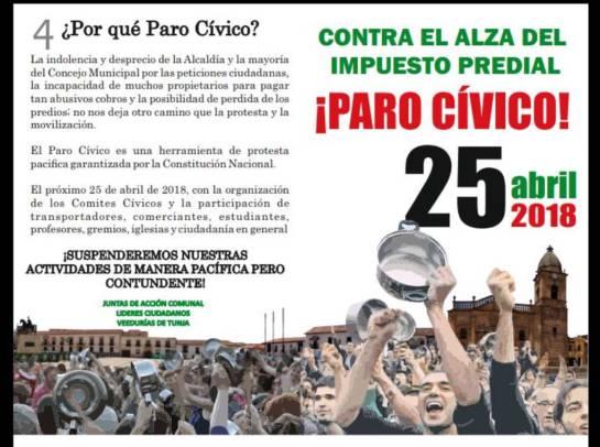 Se acerca la hora cero del paro cívico en Tunja: Se acerca la hora cero del paro cívico en Tunja