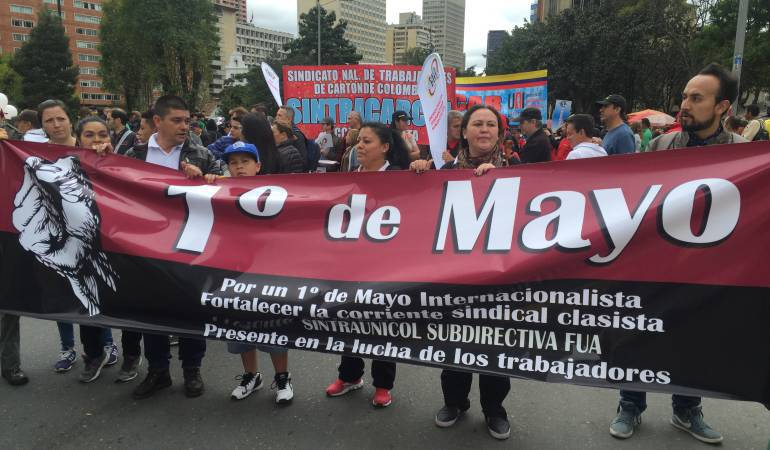 Treinta y siete sindicatos marchan en Tunja por el día del trabajo: Treinta y siete sindicatos marchan en Tunja por el día del trabajo