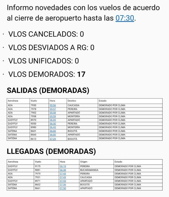 Cerradas, operaciones, aeropuerto, Olaya, Herrera: 29 vuelos retrasados por cierre de operaciones en aeropuerto Olaya Herrera