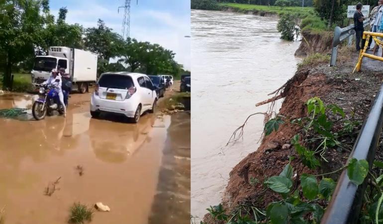 Daño en la ladera del puente para ingresar al municipio de Tibú