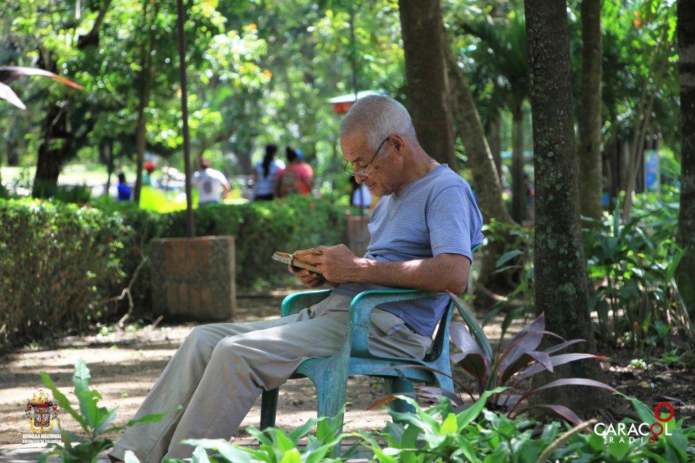 Los adultos mayores llegan al parque para leer sus libros favoritos.