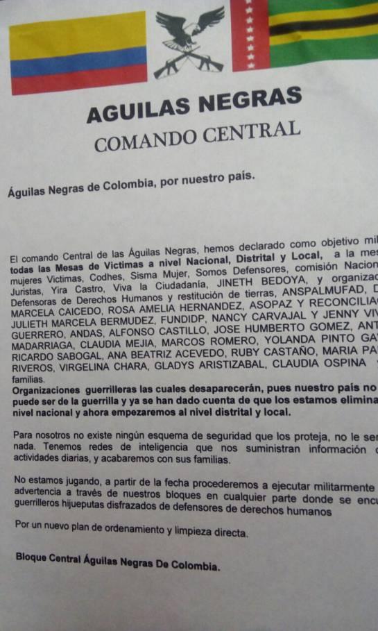 "Amenazas a lideres sociales: Denuncian panfletos amenazantes de ""Águilas Negras"" en Bogotá"