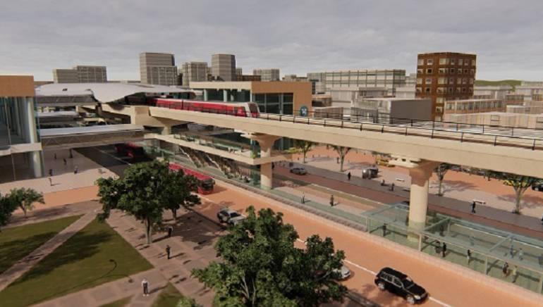 Imagen informativa sobre cómo sería el metro elevado en Bogotá.