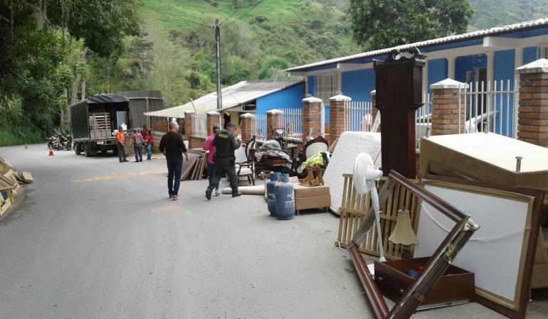 ZOna afectada por una falla geológica en Salamina, Caldas