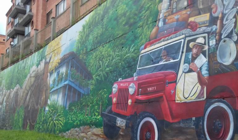 Hermoso mural sobre el Paisaje Cultural Cafetero en Armenia