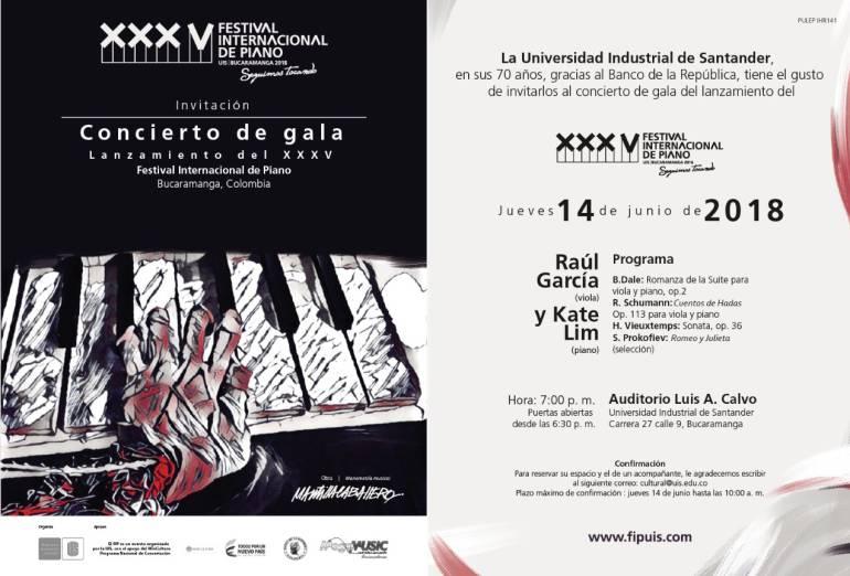 BUCARAMANGA CULTURA MÚSICA UNIVERSIDAD INDUSTRIAL DE SANTANDER UIS: Concierto de gala presentará nueva edición del Festival de Piano de la UIS