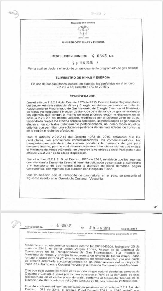 Minminas declara racionamiento de gas por emergencia en gasoducto de Boyacá: Minminas declara racionamiento de gas por emergencia en gasoducto de Boyacá