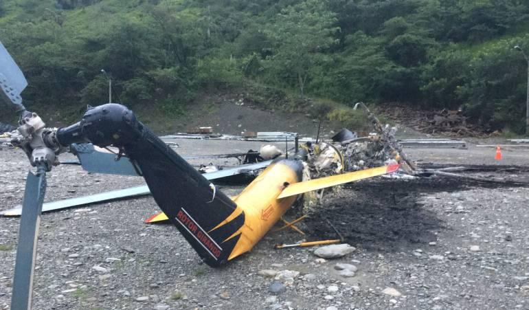 Delincuentes queman helicóptero en Valle de Toledo, Antioquia
