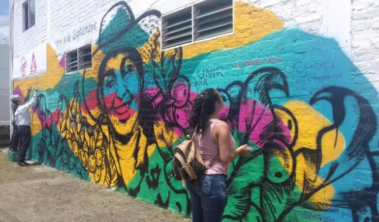 Día Nacional del Café, mural en honor a la mujer cafetera en Quindío