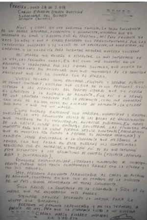 Carta de renuncia del alcalde de de Armenia Carlos Mario Álvarez