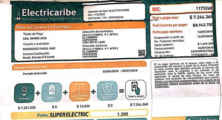 En Cartagena, recibo de Electricaribe llegó por siete millones de pesos: En Cartagena, recibo de Electricaribe llegó por $7'000.000