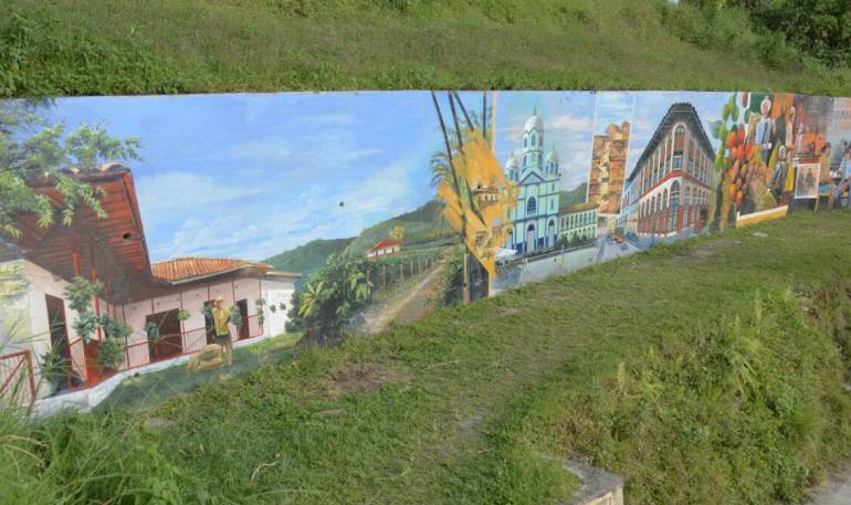 En el corregimiento de La Virginia en Calarcá, mural de 41 metros de largo alusivo al Paisaje Cultural Cafetero