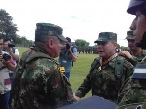 Coronel Hugo Armando Sandoval Villamizar, saliente comandante de la unidad militar en eje cafetero