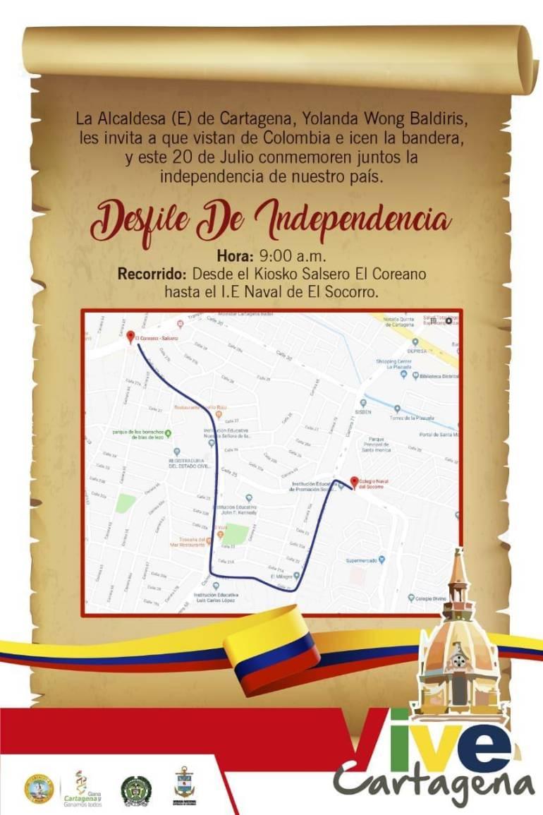 Socializan ruta del Desfile de la Independencia en Cartagena: Socializan ruta del Desfile de la Independencia en Cartagena