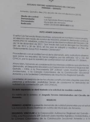Texto de admisión de demanda contra decreto que derogó plan zonal avenida Centenario