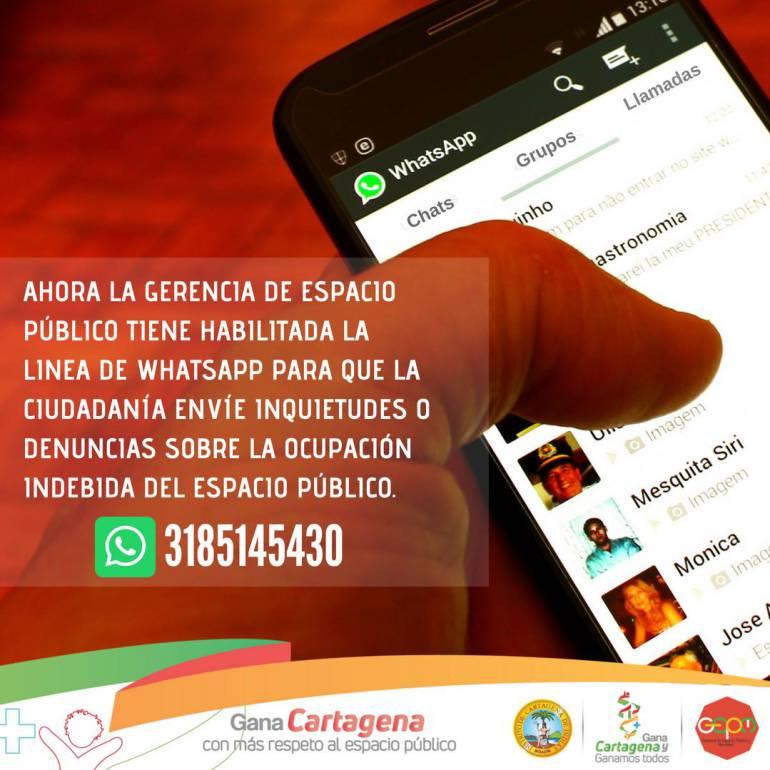 WhatsApp para denuncias sobre invasión del espacio público en Cartagena: WhatsApp para denuncias sobre invasión del espacio público en Cartagena