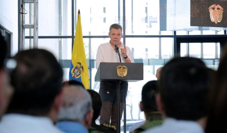 Juan Manuel Santos durante la entrega del Búnker de la Fiscalía en Cúcuta