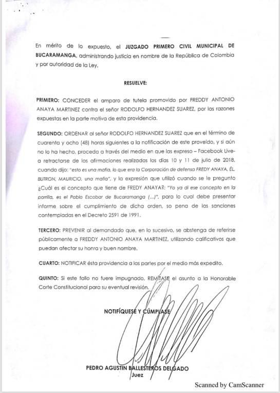 alcalde de bucarmanga deberá volver a retractarse: El alcalde de Bucaramanga tendrá que volver a retractarse