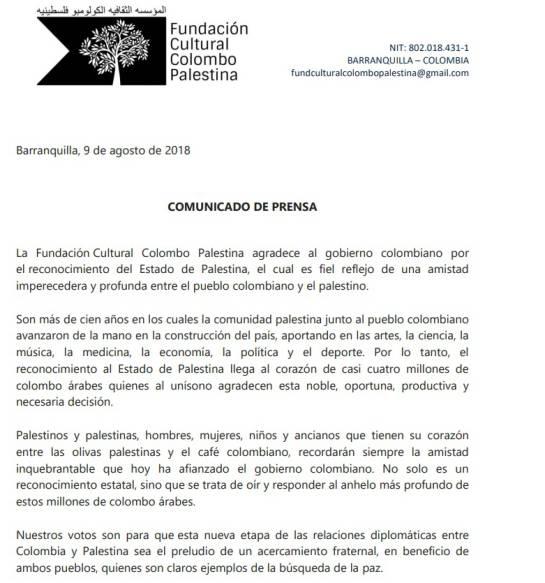 Reconocimiento a Palestina: Palestinos en Barranquilla agradecen reconocimiento de Estado por Colombia