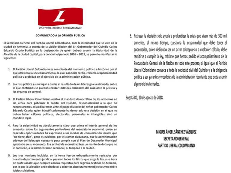 En el documento señala que hay una visible dilación por parte del gobernador del Quindío