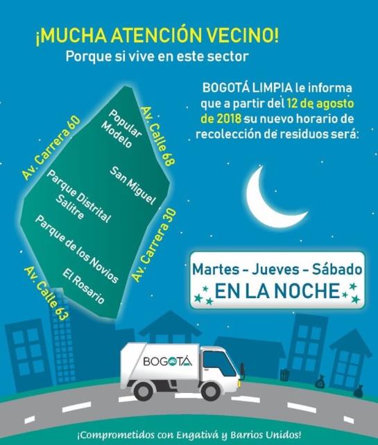 Recolección de basuras en Bogotá: Cambian horarios de recolección de basuras en tres localidades de Bogotá