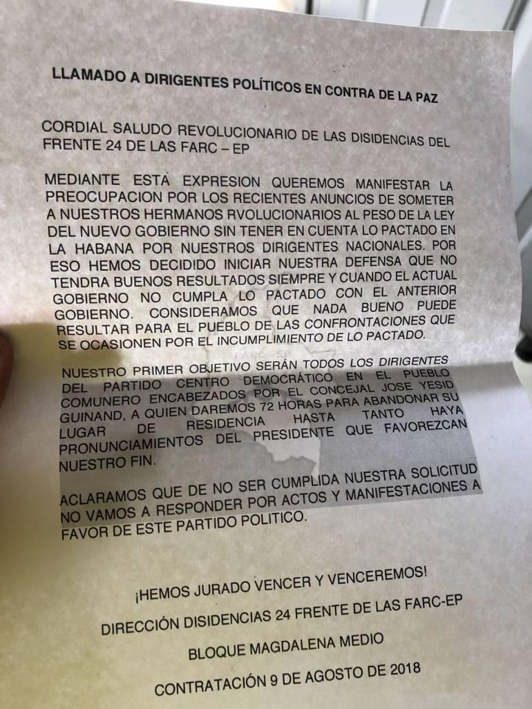 AMANEZAS, CONCEJAL SOCORRO, INVESTIGAN, PANFLETO: Con un panfleto amenazan de muerte a Concejal de Santander