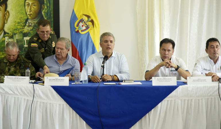 Presidente Iván Duque en la visita al municipio de Tibú en el Catatumbo