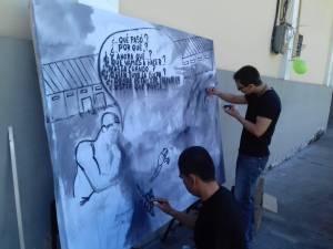 A través de la pintura los artistas y la inconformidad por no adelantar el proyecto cultural de la estación