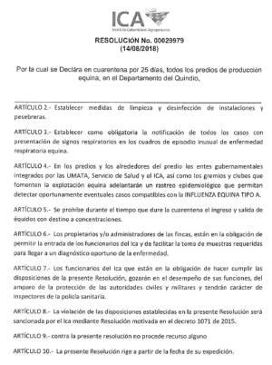 Resolución del ICA Quindío sobre cuarentena por influenza equina