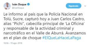 Pichi, Belén, Castro, oficina, policía, presidente, alcalde: Así fue la captura de 'Pichi', jefe de la 'Oficina'