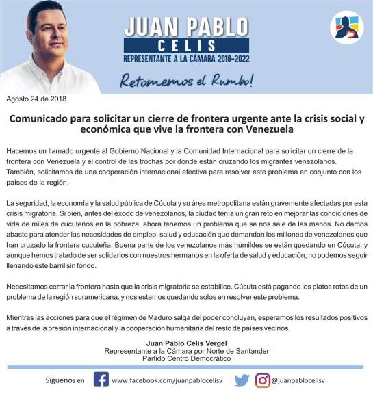 Piden cerrar frontera con Venezuela por crisis social en Cúcuta