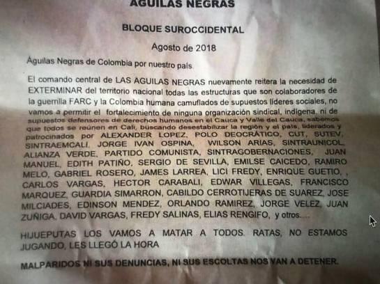 Amenazas, líderes: Ex Senador de la República Jorge Iván Ospina denuncia amenazas