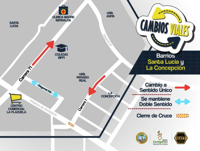 Cambios viales en barrios Santa Lucía y Concepción en el sur de Cartagena: Cambios viales en barrios Santa Lucía y Concepción en el sur de Cartagena