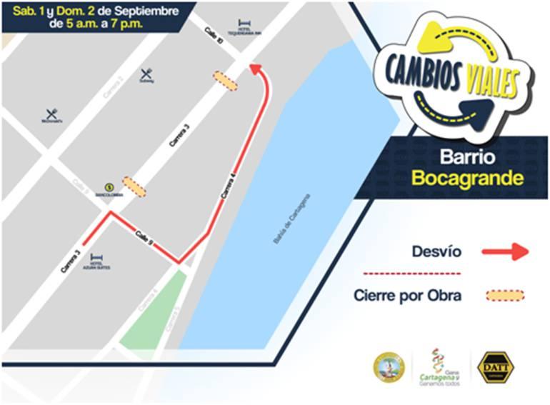 Cambios viales en Bocagrande por obras civiles: Cambios viales en Bocagrande por obras civiles