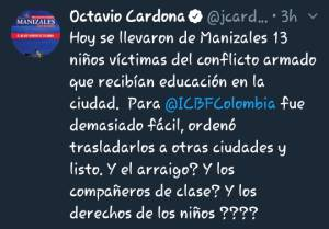 Twitter publicado por el alcalde Octavio Cardona León