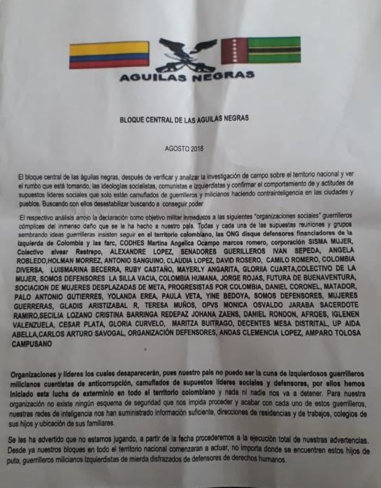 Amenazas terroristas: Panfletos y asesinatos intimidan a pobladores del occidente Nariño