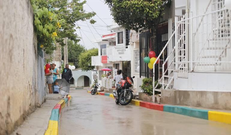 Calles pavimentadas en Cartagena: Entregan calle pavimentada en La Victoria, en Cartagena