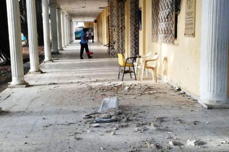 Se cayó parte del cielo raso en el colegio Fernández Baena de Cartagena: Se cayó parte del cielo raso en el colegio Fernández Baena de Cartagena