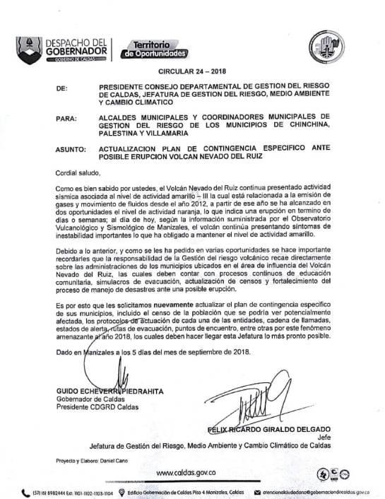 Circular del Consejo Departamental de Gestión del Riesgo