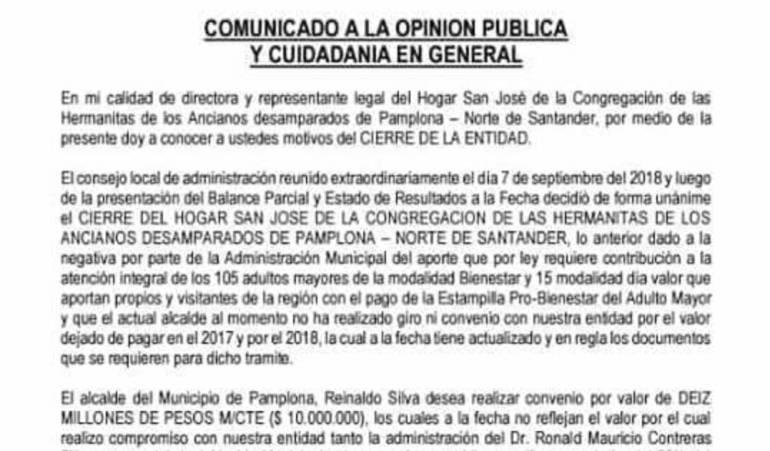 Comunicado Hogar San José, Pamplona