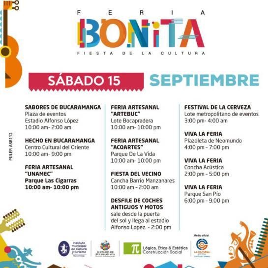FERIAS, FIESTAS: Programación de hoy sábado de las Ferias de Bucaramanga